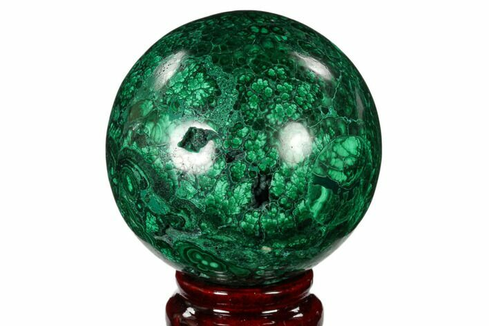 "2.75"" Flowery, Polished Malachite Sphere - Congo"