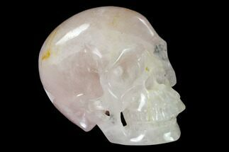 "5"" Realistic, Polished Brazilian Rose Quartz Crystal Skull For Sale, #150872"