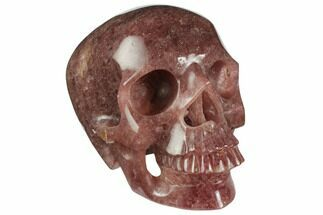 "5"" Realistic, Carved Strawberry Quartz Crystal Skull For Sale, #150857"