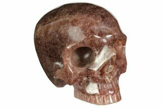 "Buy 3"" Realistic, Carved Strawberry Quartz Crystal Skull - #150988"
