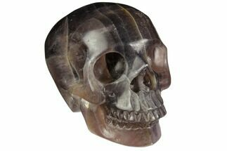 "3"" Realistic, Carved, Banded Purple Fluorite Skull For Sale, #151022"