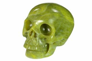"Buy 3"" Realistic, Polished Jade (Nephrite) Skull - #151129"