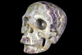 "5.9"" Realistic, Carved Chevron Amethyst Skull  For Sale, #151196"
