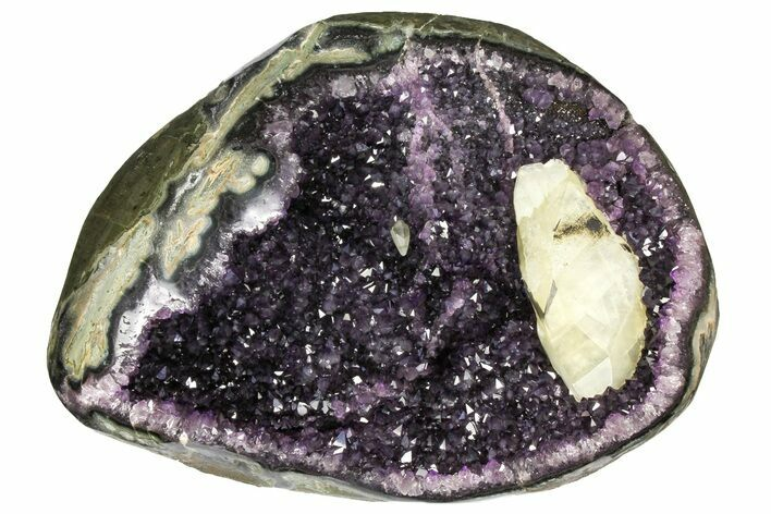 "13.7"" Amethyst Geode With Calcite Crystal - Top Quality"