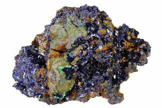 "3.2"" Sparkling Azurite Crystals with Malachite - Laos For Sale, #162593"