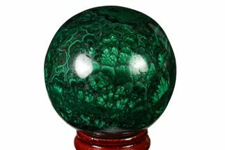 "Buy 2"" Flowery, Polished Malachite Sphere - Congo - #164488"