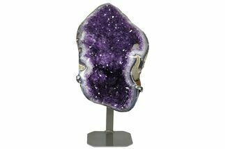 "Buy 15.2"" Amethyst Geode Section with Calcite on Metal Stand - Uruguay - #171907"