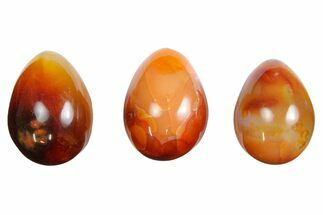 "Buy 1.5"" Tall, Polished Carnelian Agate Eggs - #172918"