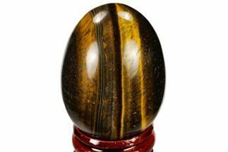 "2"" Polished Tiger's Eye Egg With Stand"