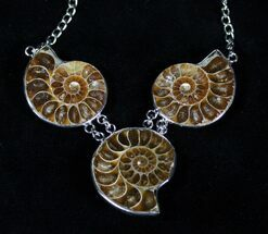 Triple Ammonite Necklace For Sale, #3366