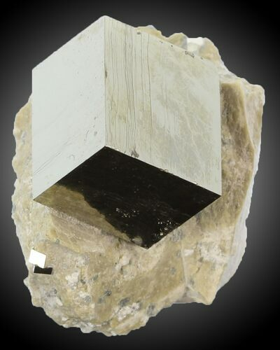 "1/2"" Pyrite Cube on Matrix - Navajun, Spain"