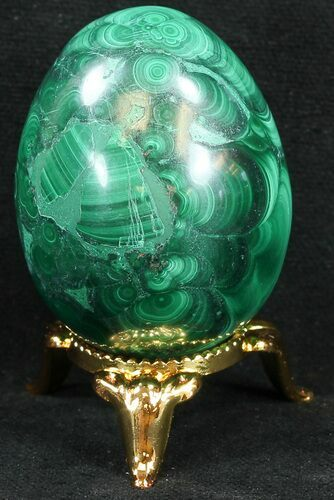 "Stunning 1.8"" Polished Malachite Egg - Congo"