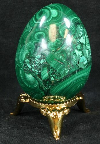 "Stunning 1.9"" Polished Malachite Egg - Congo"