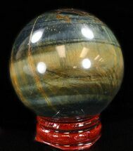 "Top Quality 1.9"" Polished Tiger Iron (Tiger's Eye) Sphere For Sale, #37694"