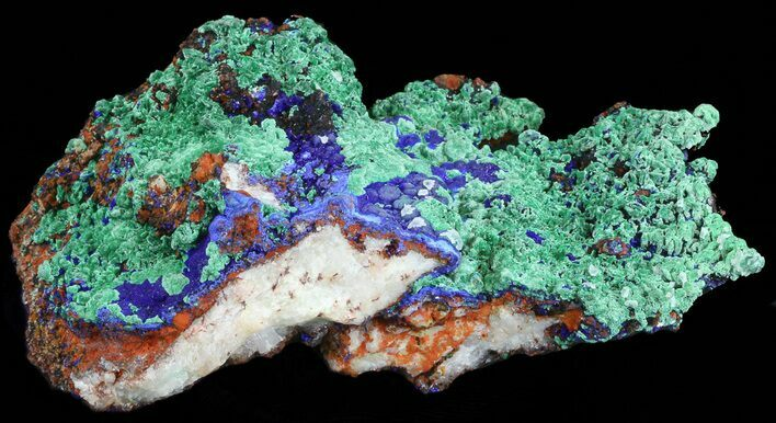 "6.0"" Malachite with Azurite On Quartz - Morocco"
