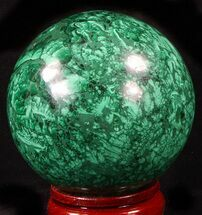 "Gorgeous 3.35"" Polished Malachite Sphere - Congo For Sale, #39407"