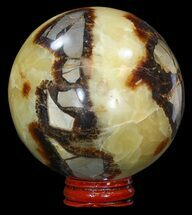 "3.3"" Polished Septarian Sphere - With Stand For Sale, #43868"