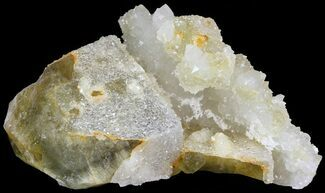 "Buy 4.4"" Quartz Encrusted Yellow Cubic Fluorite Cluster - Morocco  - #44845"
