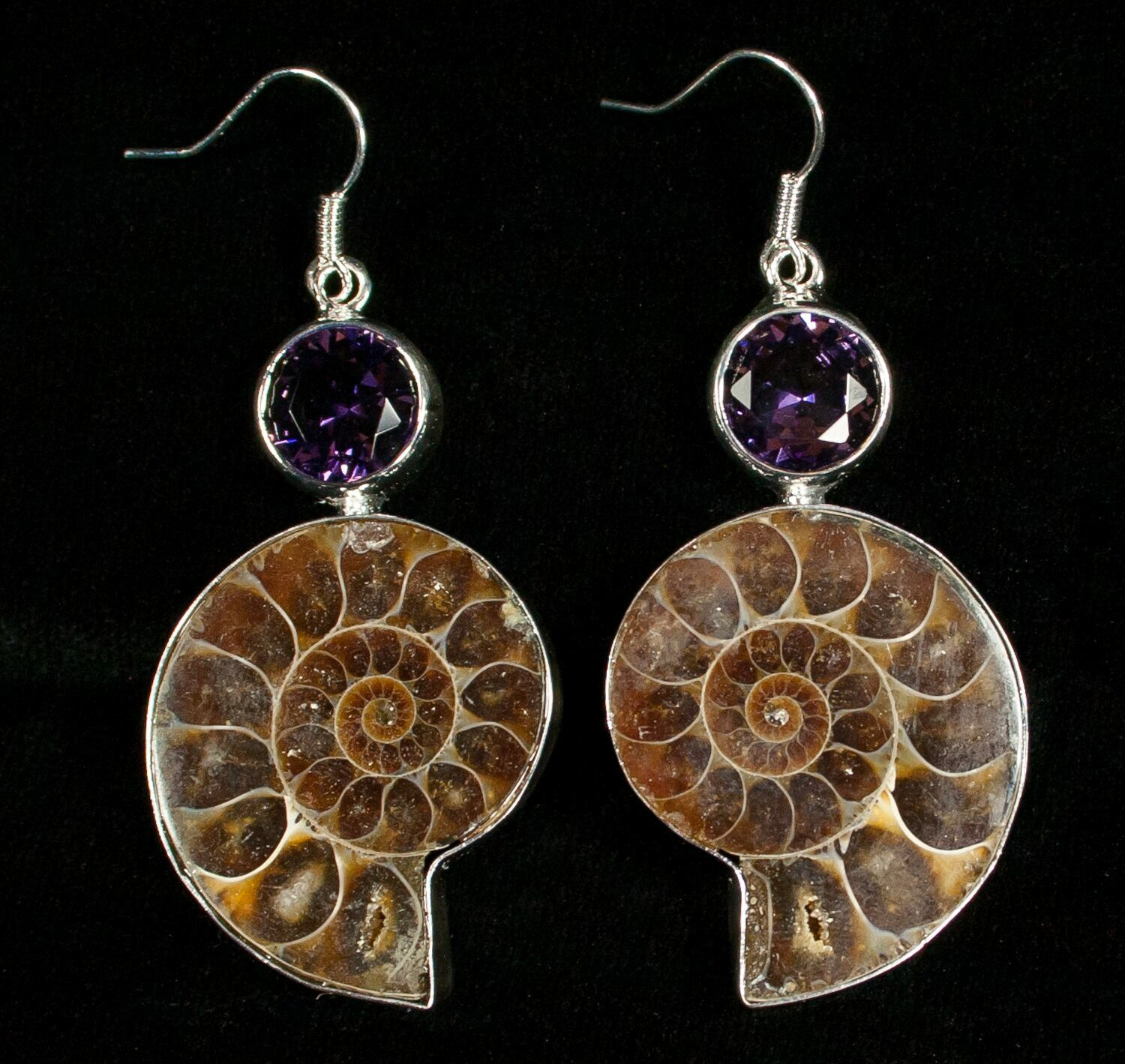 e09379429 Ammonite Earrings With Amethyst For Sale (#4515) - FossilEra.com