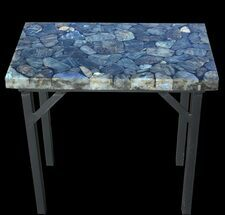 "Buy 20 x 12"" Labradorite End Table With Powder Coated Base  - #52939"