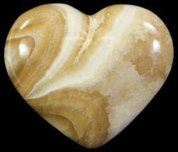 "3.3"" Polished, Brown Calcite Heart - Madagascar For Sale, #62543"