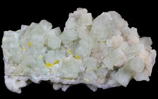 "4.5"" Fluorescent Aragonite With Sulfur & Stronzianite  - Italy For Sale, #62900"