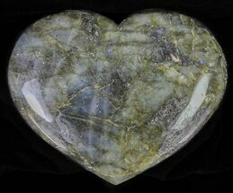 "5.3"" Flashy Polished Labradorite Heart For Sale, #62951"