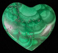 "Buy .9"" Polished Malachite Heart - Congo - #63196"