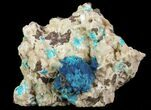 Vibrant Blue Cavansite Clusters on Stilbite - India - #64814-1
