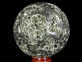 "3.2"" Polished Pyrite Sphere - Peru For Sale, #65867"
