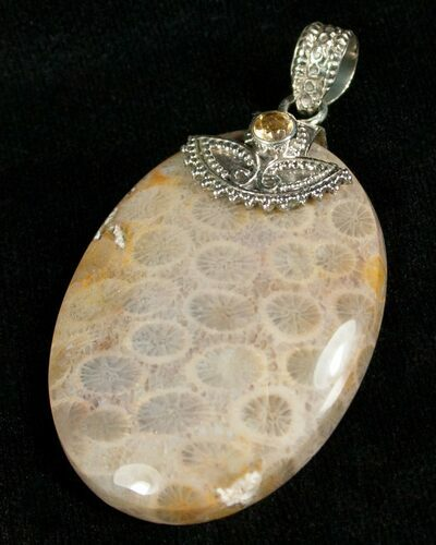 Fossil Coral Pendant - Sterling Silver