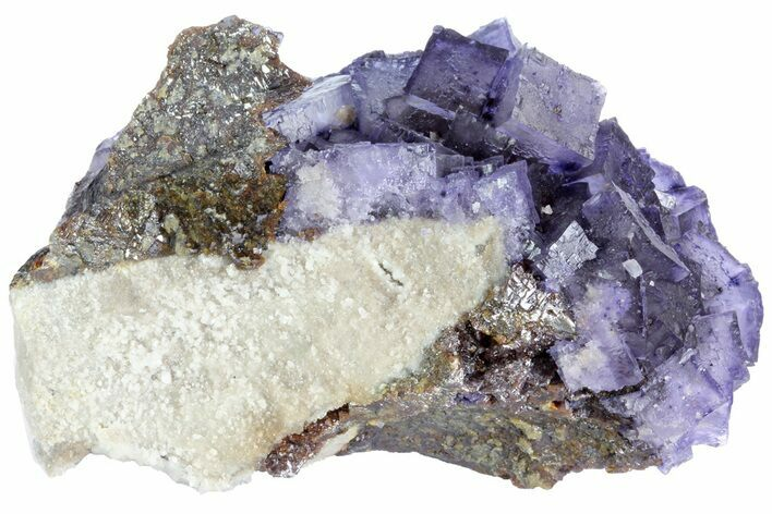 "3.9"" Cubic Fluorite Crystals on Sphalerite - Elmwood Mine"