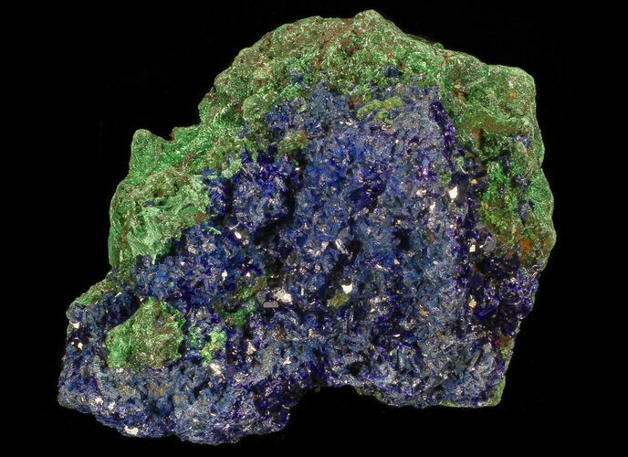 "2.4"" Sparkling Azurite Crystal Cluster with Malachite - Laos"