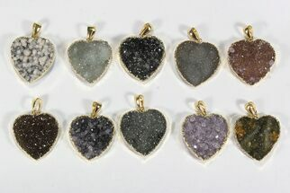 Wholesale Lot: Druzy Amethyst Heart Pendants - 10 Pieces For Sale, #78431