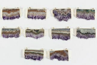 Buy Wholesale Lot: Amethyst Slice Pendants - 10 Pieces - #78463