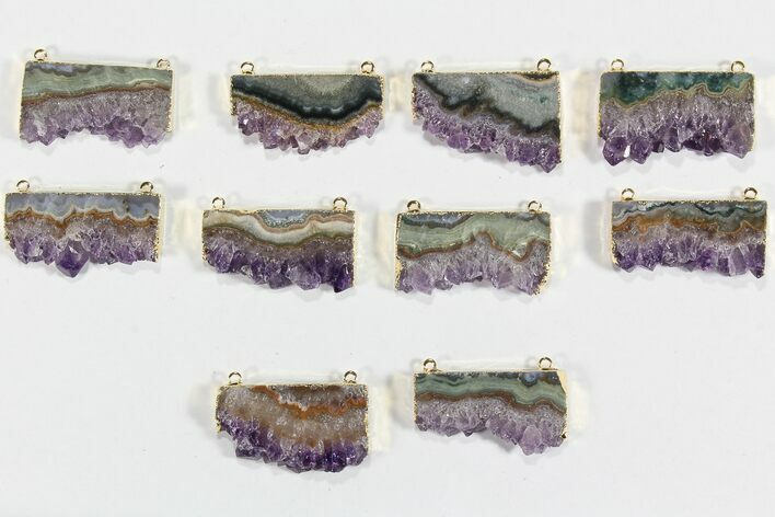 Wholesale Lot: Amethyst Slice Pendants - 10 Pieces