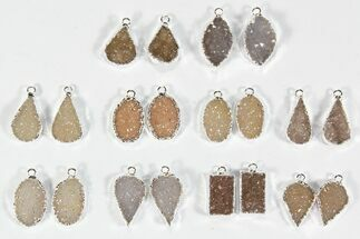 Lot: Amethyst Slice Pendants/Earrings - 10 Pairs For Sale, #78485