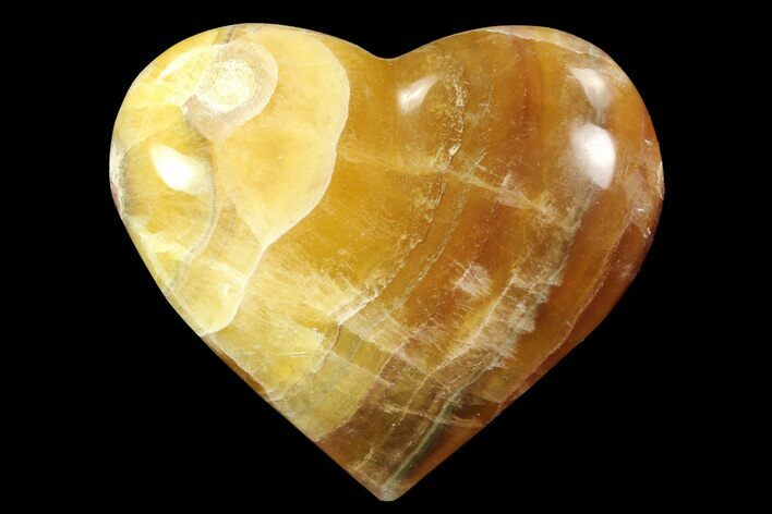 "3"" Carved & Polished Banded Fluorite Heart - Argentina"