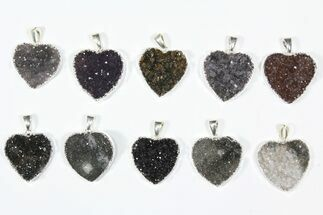 Buy Wholesale Lot: Druzy Amethyst Heart Pendants - 10 Pieces - #84085