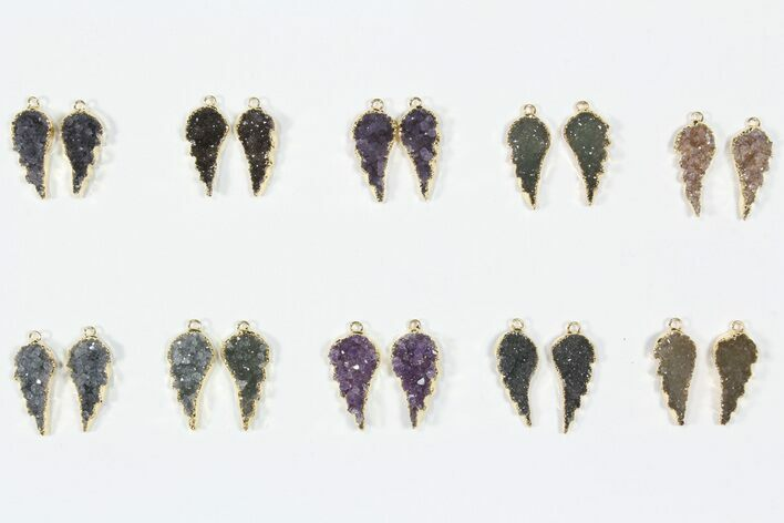 Lot: Amethyst Slice Pendants/Earrings - 10 Pairs