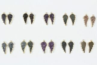 Buy Wholesale Lot: Amethyst Slice Pendants/Earrings - 10 Pairs - #84094