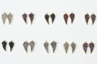 Buy Lot: Amethyst Slice Pendants/Earrings - 10 Pairs - #84097
