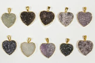 Buy Wholesale Lot: Druzy Amethyst Heart Pendants - 10 Pieces - #84076