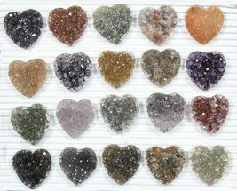 Wholesale: Druzy Amethyst/Quartz Heart Clusters (20 Pieces) For Sale, #84113
