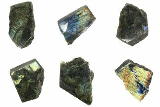 Buy Wholesale: 1kg One Side Polished Labradorite - 6 Pieces - #84544