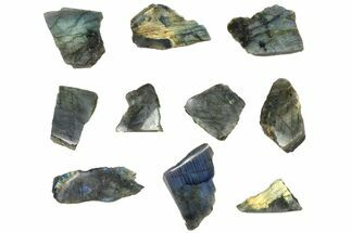 Buy Wholesale: 1kg One Side Polished Labradorite - 10 Pieces - #84547