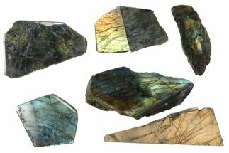 Buy Wholesale: 1kg One Side Polished Labradorite - 6 Pieces - #84556