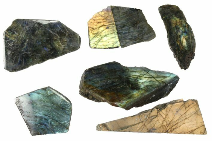 Wholesale: 1kg One Side Polished Labradorite - 6 Pieces