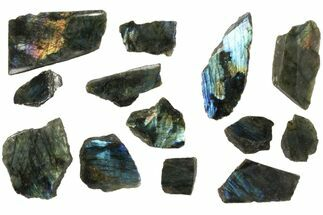 Buy Wholesale: 1kg One Side Polished Labradorite - 13 Pieces - #84538