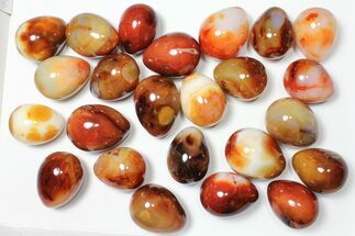 "Wholesale Box: 2-3"" Polished Carnelian Eggs - 24 Pieces For Sale, #91436"